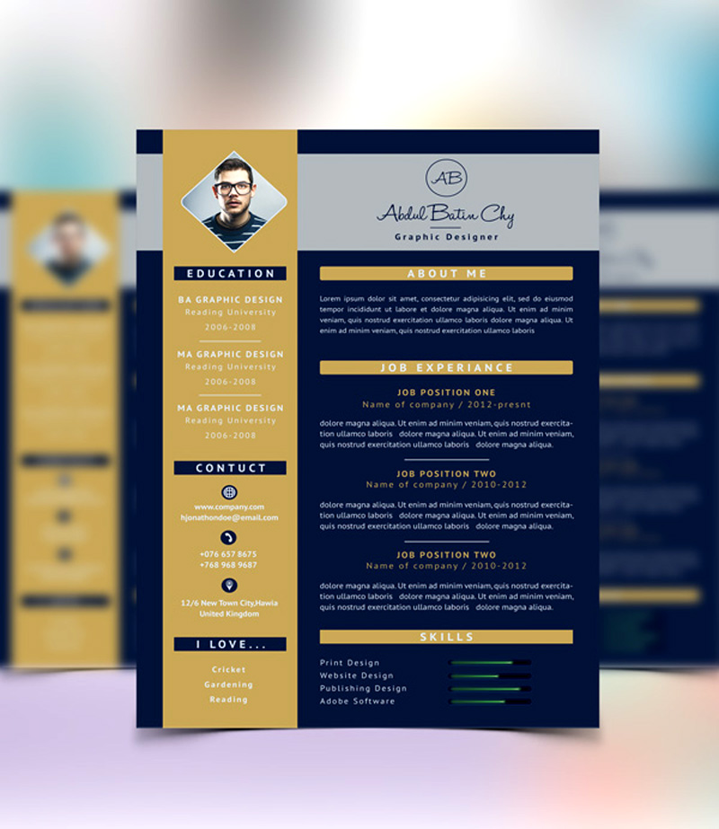 download amazing PSD resume templates