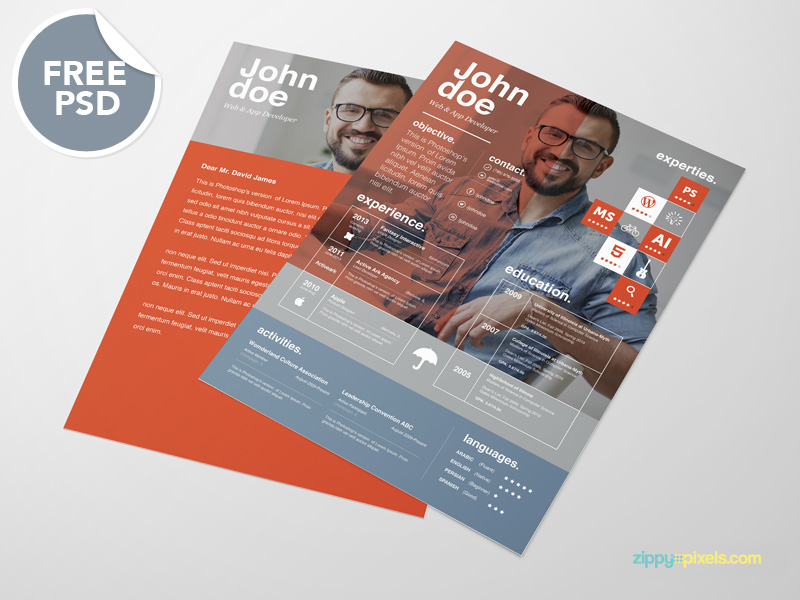 download awesome PSD resume templates for free