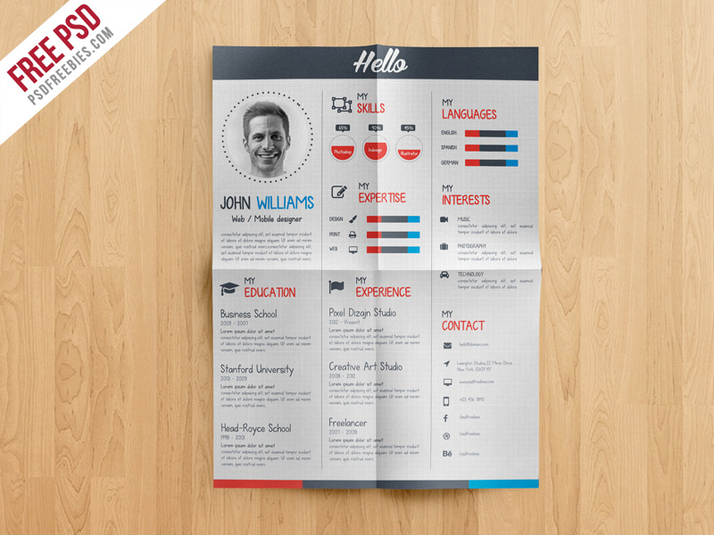 Free Download Unique Resume Templates In Psd