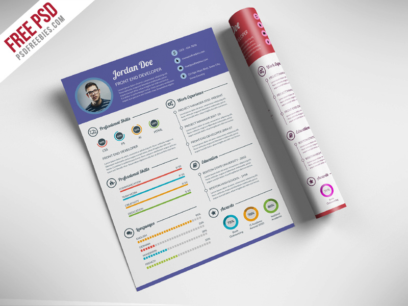 download unique PSD resume templates for free