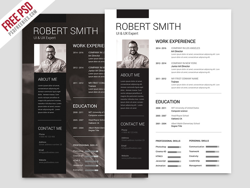 free download great PSD resume templates