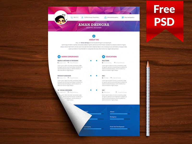 best psd resume templates download for free - Graphic Resume Templates Free