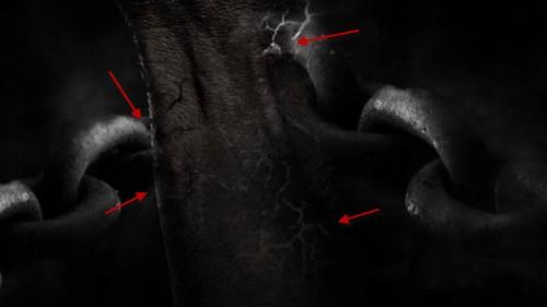 4 rachadura 500x281 Crie um braço preso com Efeito mancha de sangue no Photoshop