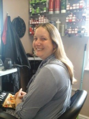 nicki before she had her hair cut to support Pseudomyxoma Survivor and the Little Princess Trust