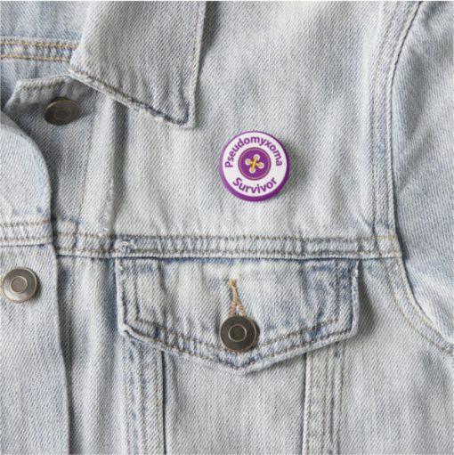 Pseudomyxoma Survivor Button Badge with logo