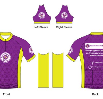 Illustration of Pseudomyxoma Survivor cycle jersey with button logo to front and slogan to rear.