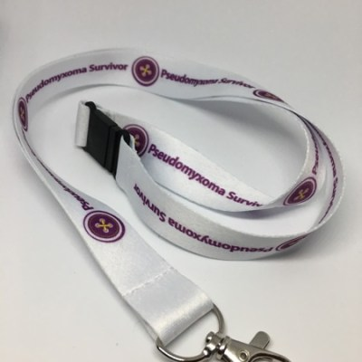 a photo of a Pseudomyxoma Survivor lanyard