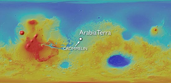Location map, Crommelin Crater