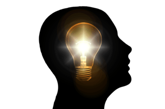 Light bulb in head (a bright idea)