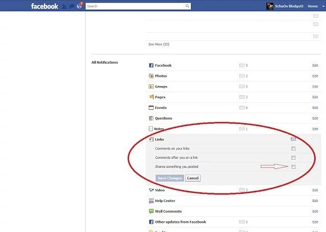 How-to: Stop receiving emails from Facebook when someone Shares one of your posts