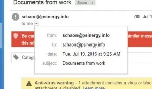 Email marked as a Virus shows it was sent from me