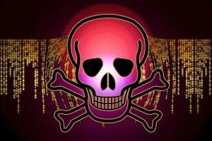 Skull and Crossbones over computer code