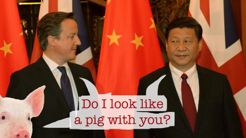 David Hameron and Xi Jinping or pig or Cameron or whatever
