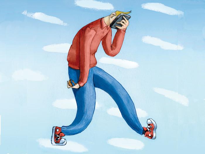 ilustração de dependência de celular