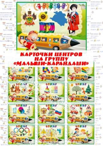 """Карточки центров на группу """"Малыши-карандаши"""" (без надписей)"""