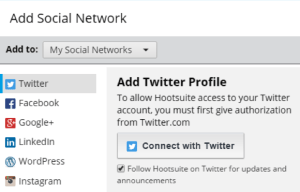 screenshot of Hootsuite profiles