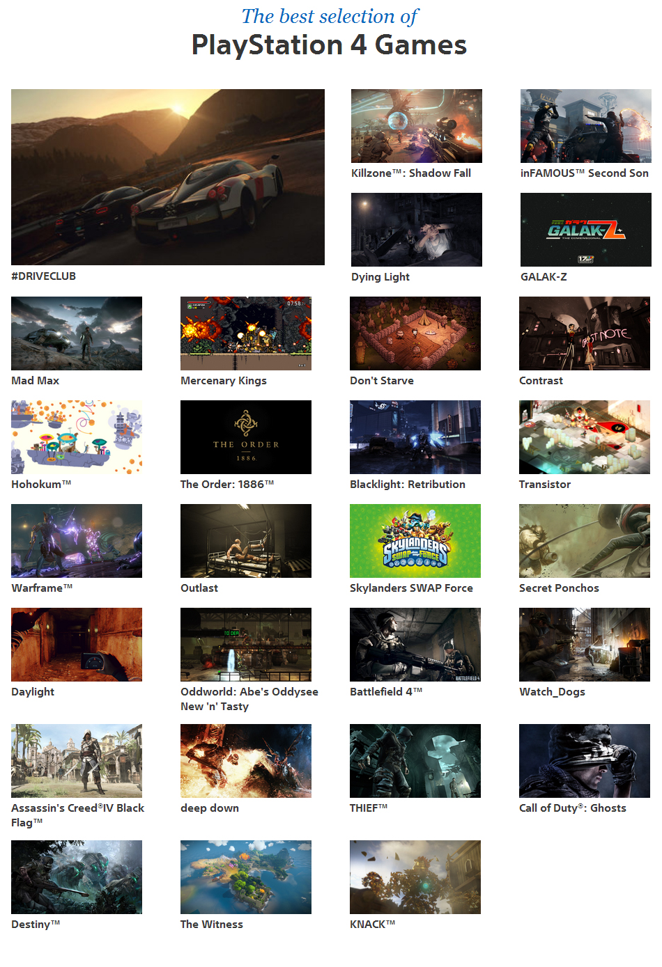 Sony Shows Stellar PS4 Line Up On Official Site Indies