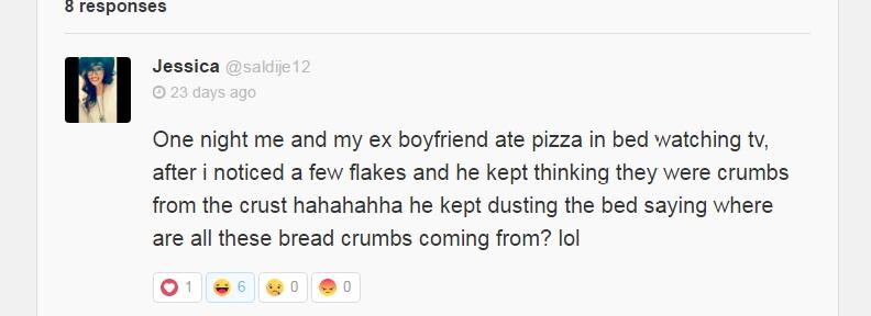 Hahaha, mmm, bread crumbs!