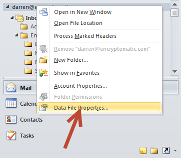 Outlook data file properties