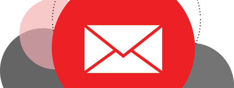 Illustration of email in cloud. White email logo in red circle.