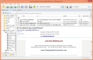 Shows the mainscreen of pst viewer software for windows with messages populated in the viewing pane.
