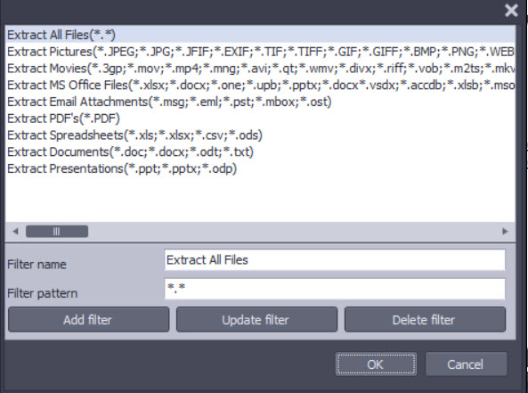 Screen shot of PstViewer Pro showing different file types that can be bulk extracted from Outlook pst ost files.