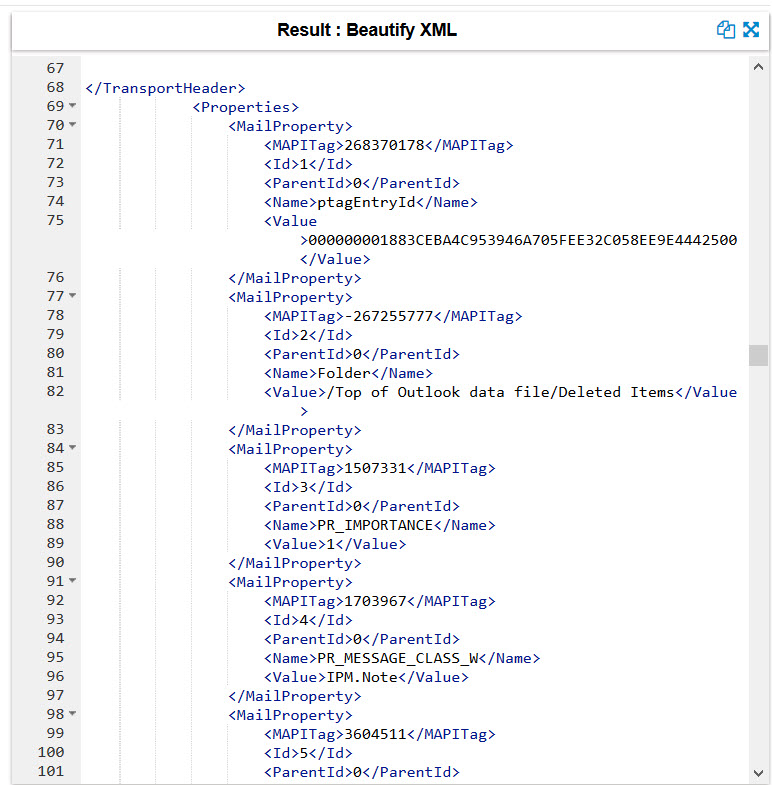 An XML file containing an email.