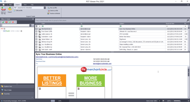 Pst Viewer Pro email viewing tool main software screen.