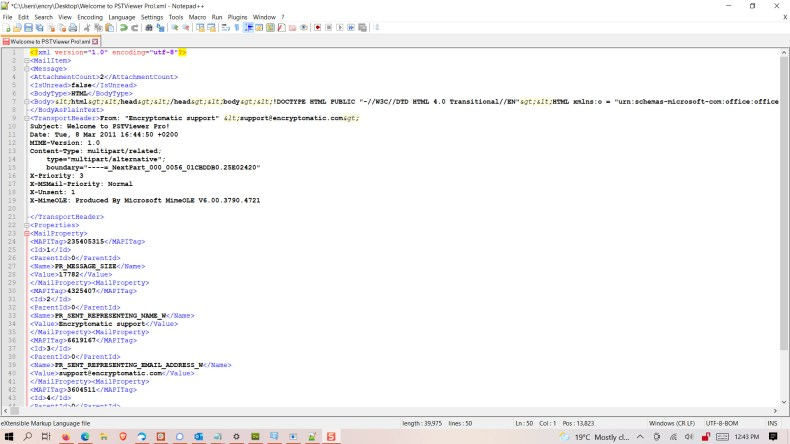 Image shows an email that has been converted to an XML file. Text between properties.