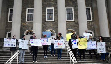 Students Rally at Old Main to Mark International Trans Day of Visibility