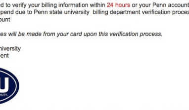 Penn State Warns Students of Phishing Email Appearing to be from the Office of the Bursar