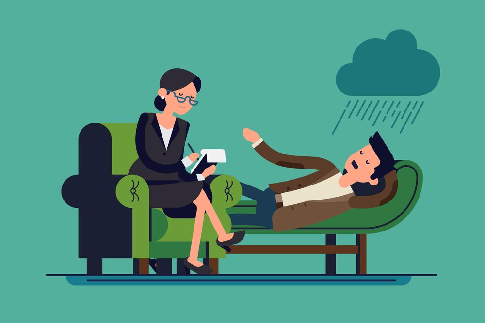 Dibujo de una psicóloga atendiendo a un paciente en su consulta