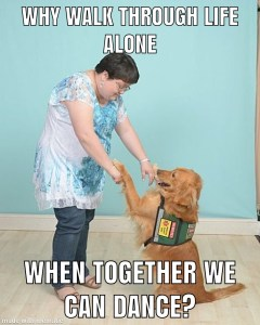 "White woman with short, dark hair stands with hands outstretched to a Golden Retriever in a vest. The dog sits up with its paws outstretched up to the woman's hands. Text says ""Why walk through life alone when together we can dance?""."