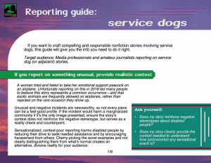 first page of service dog reporting guide