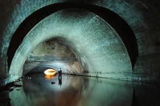This shot shows a stunning parabolic arch. in the Megatron drain under Sheffield, England.