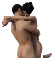 Naked couple hugging