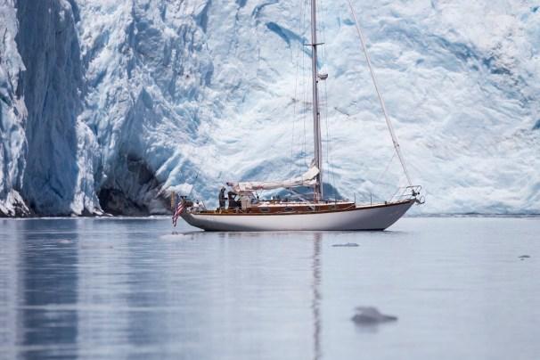 Celeste dwarfed by a glacier