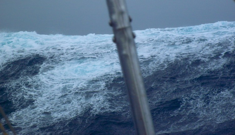 Huge wave from the stern. Photo by Matt Rutherford