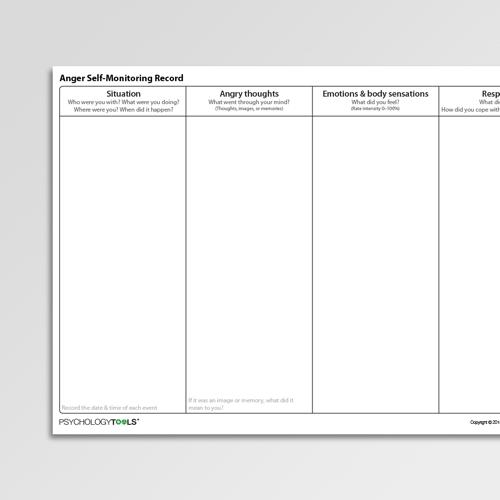 Anger Self Monitoring Record Worksheet