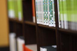 Wikimedia Foundation visitors' bookshelf closeup, 2010-10-25