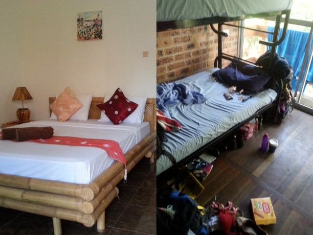 A side by side comparison of the the living space in a hotel vs a hostel!