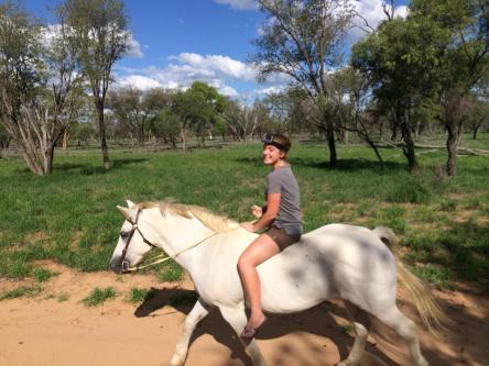 Bareback horse riding