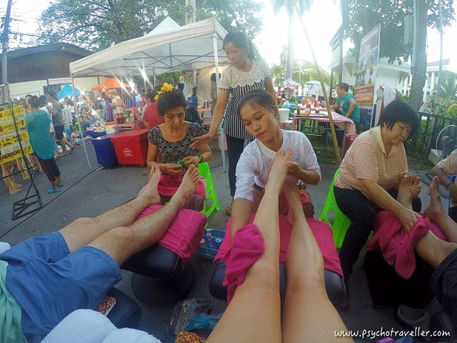 Foot massage in Chiang Mai Street markets