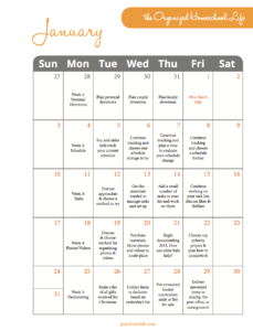 January The Organized Homeschool Life Challenge Calendar 2016
