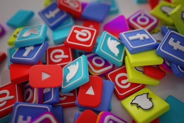 stack of popular social media logos