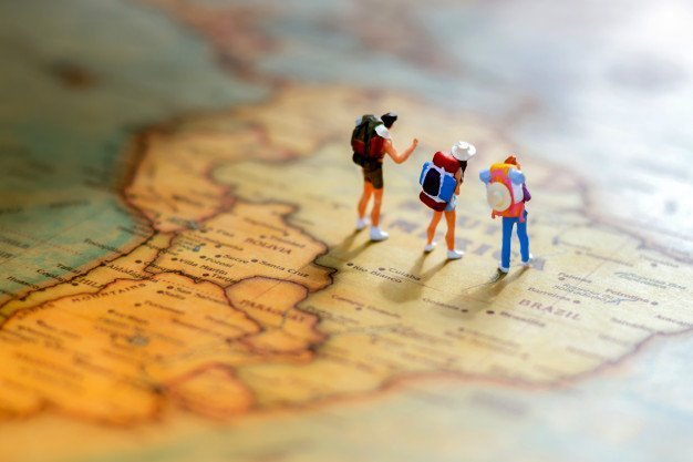 three people travelling