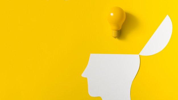 brain with light bulb