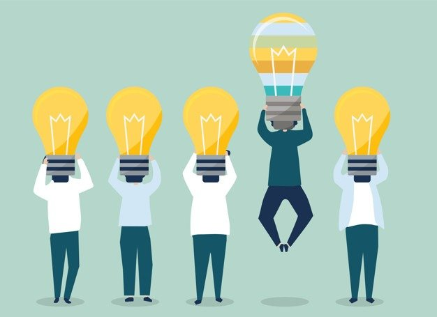five people with lightbulb