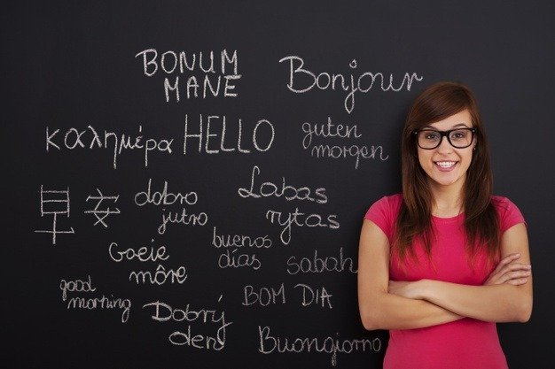 woman standing with foreign language background