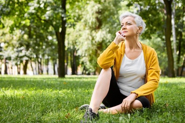 woman thinking in the park
